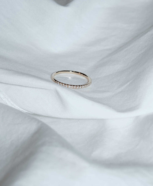 1mm Halo Eternity Band | 14ct Yellow Gold