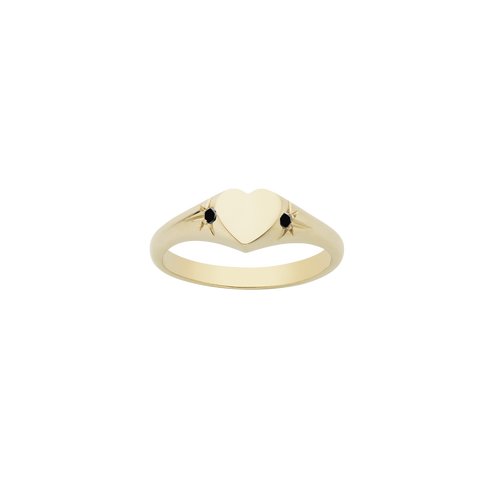 Heart Signet Ring | Gold Plated