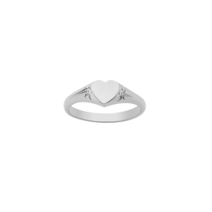 Heart Signet Ring | Sterling Silver
