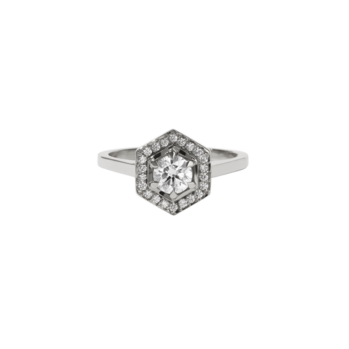 Hex Engagement Ring 0.5ct | 9ct White Gold
