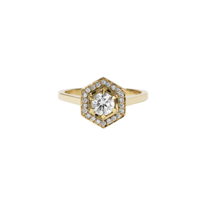 Hex Engagement Ring 0.5ct | 9ct Yellow Gold