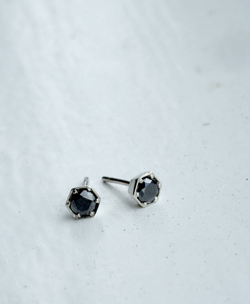 Hexagon Stone Studs | Sterling Silver