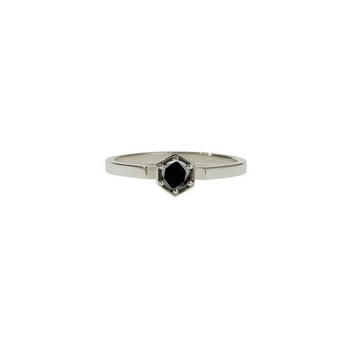 Hexagon Solitaire Ring | 18ct White Gold