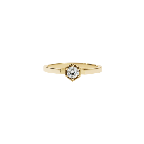 Hexagon Solitaire Ring | 18ct Yellow Gold