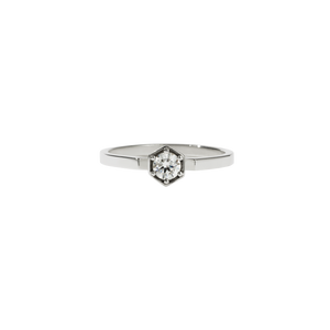 Hexagon Solitaire Ring | Sterling Silver