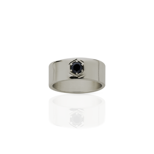 Hexagon Stone Band | 18ct White Gold