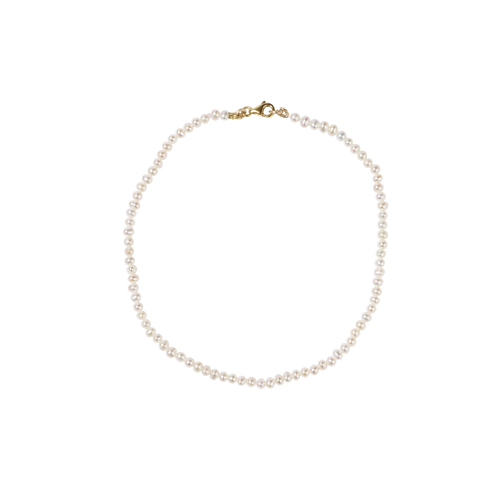 Micro Pearl Anklet | 9ct Yellow Gold