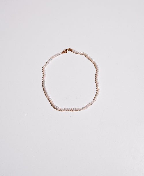 Micro Pearl Anklet | Sterling Silver