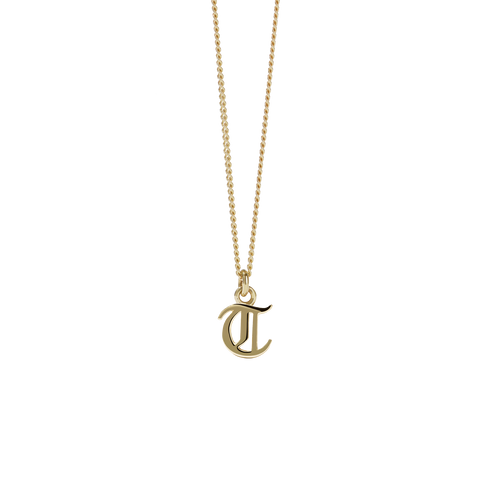 Mini Letter Charm Necklace | 9ct Yellow Gold