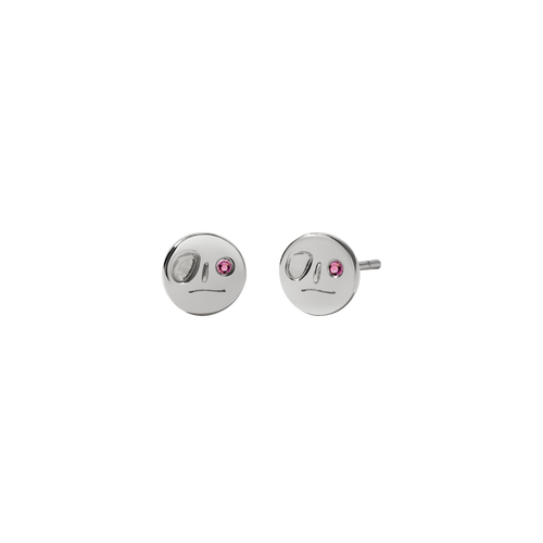 Miro Stud Earrings with Stone | Sterling Silver