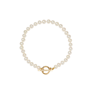 Fob Pearl Anklet | 9ct Yellow Gold
