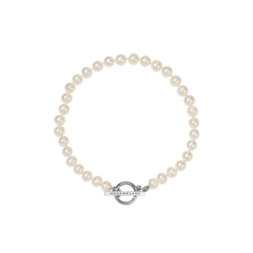 Fob Pearl Anklet | Sterling Silver