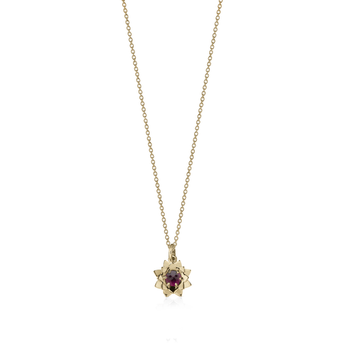 Protea Charm Necklace with Stone | 9ct Yellow Gold