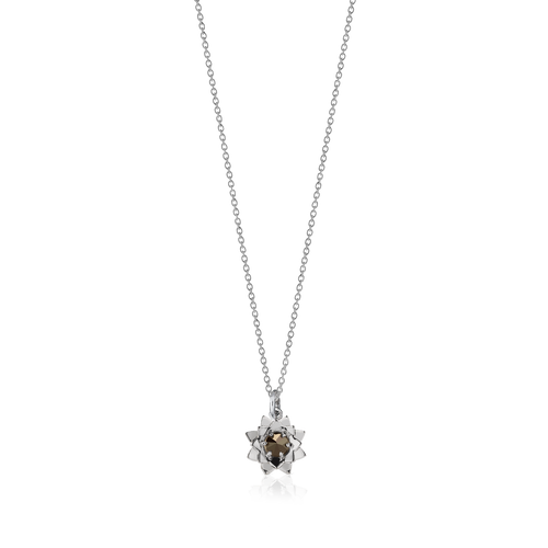 Protea Charm Necklace with Stone | Sterling Silver