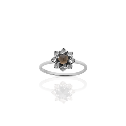 Protea Stacker Ring with Stone | Sterling Silver