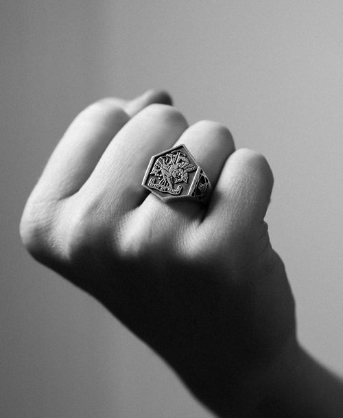 Ready Aye Ready Ring Oxidized | Sterling Silver