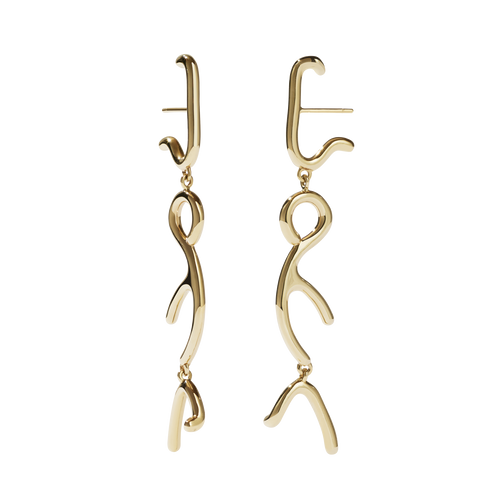 Sculpture Tiered Drop Earrings | 9ct Yellow Gold