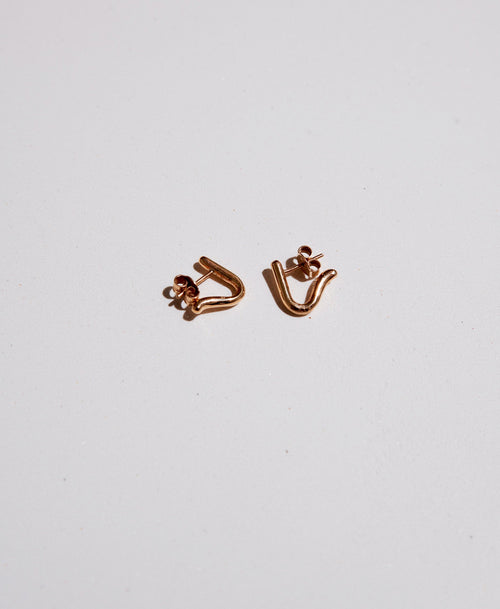 Sculpture Stud Earrings | Gold Plated