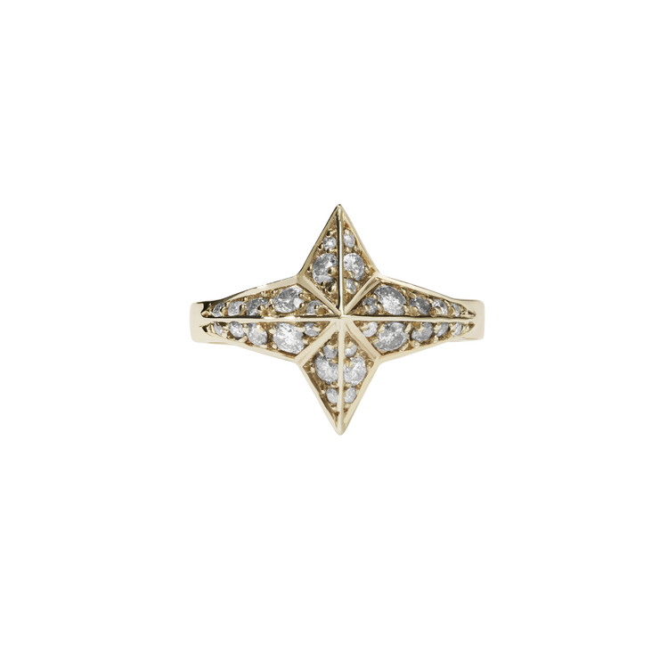 Star Ring Pave | 9ct Yellow Gold