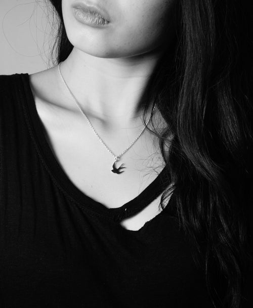 Swallow Charm Necklace | Sterling Silver