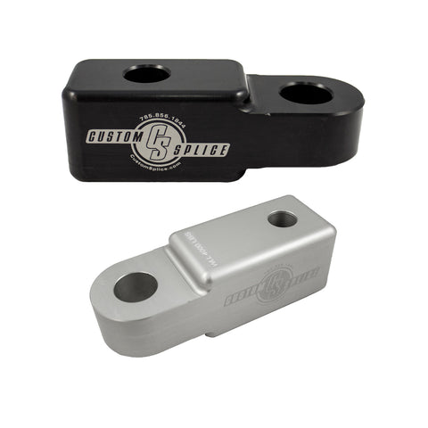 "Black and Silver 1-1/4"" Hitch Receiver Adapters for Shackle attachment."