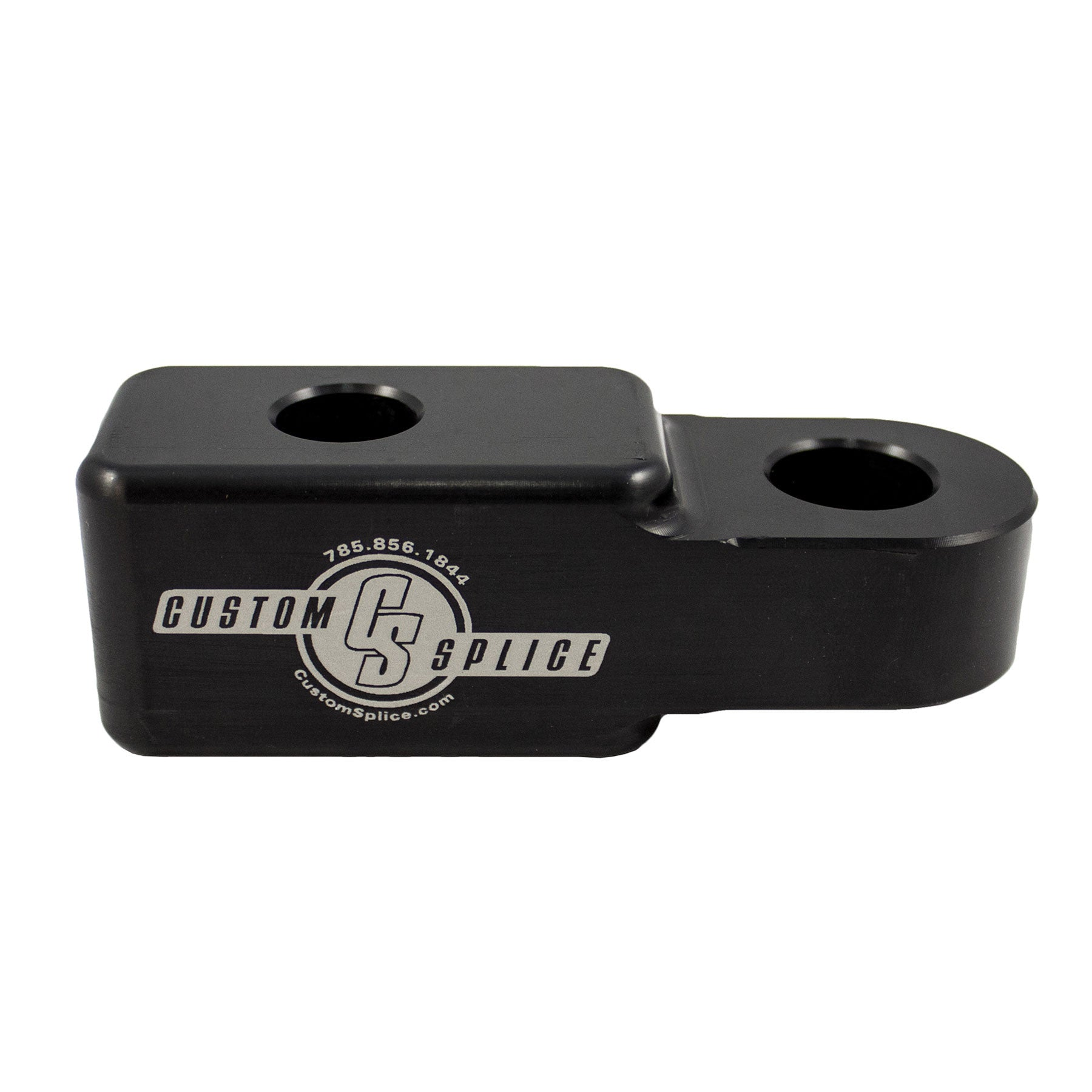 "Black and Silver 1-1/4"" Hitch Adapter - Side View."