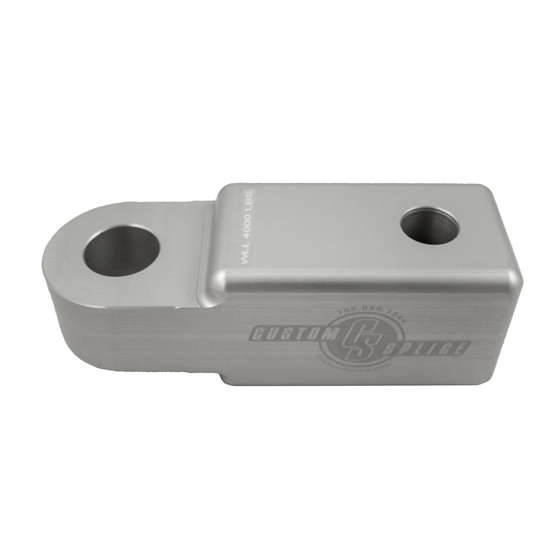 "Silver 1-1/4"" Hitch Receiver Adapters for Shackle Attachment - Side View."