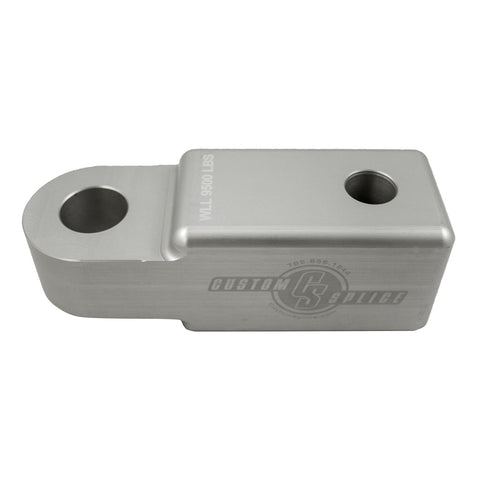 "Silver and Black 2"" Hitch Receiver Shackle Adapter."