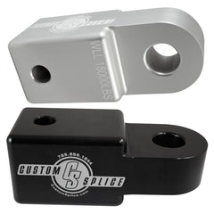 "Black and Silver 2 1/2"" Hitch Receiver Shackle Adapter."