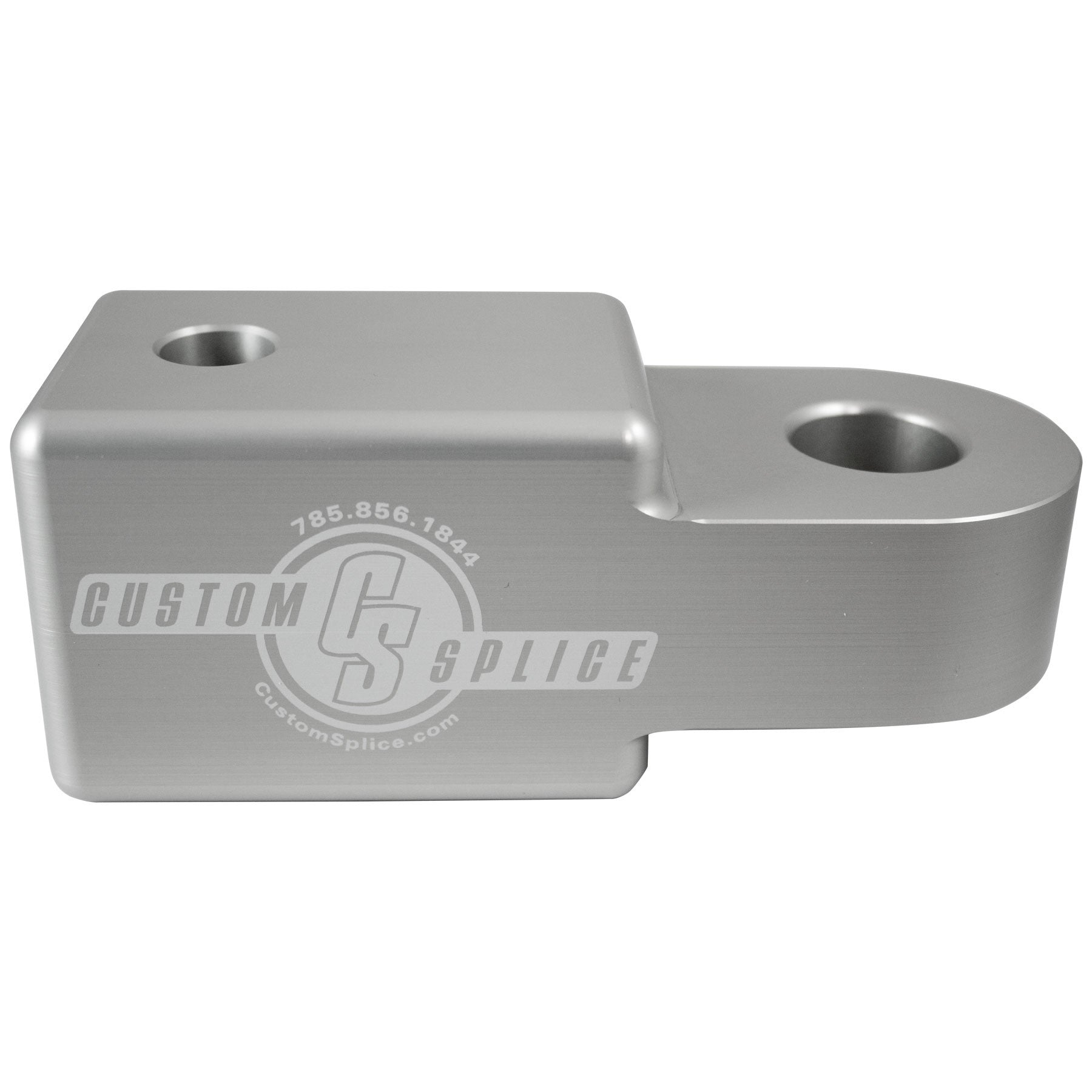 "Silver 2 1/2"" Hitch Receiver Shackle Adapter - Side View."