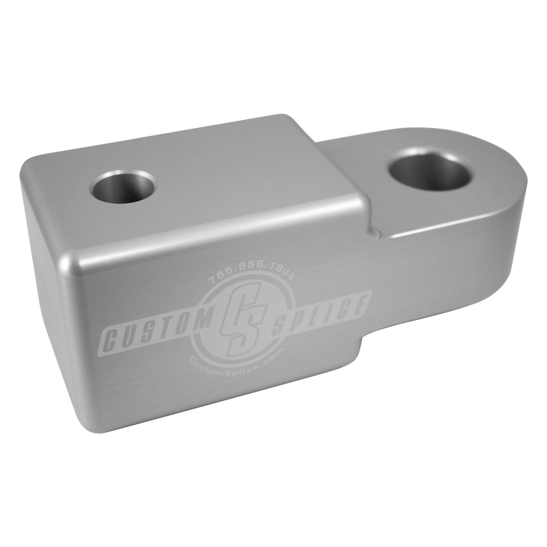 "Silver 2 1/2"" Hitch Receiver Shackle Adapter - Angled view for profile and scale."