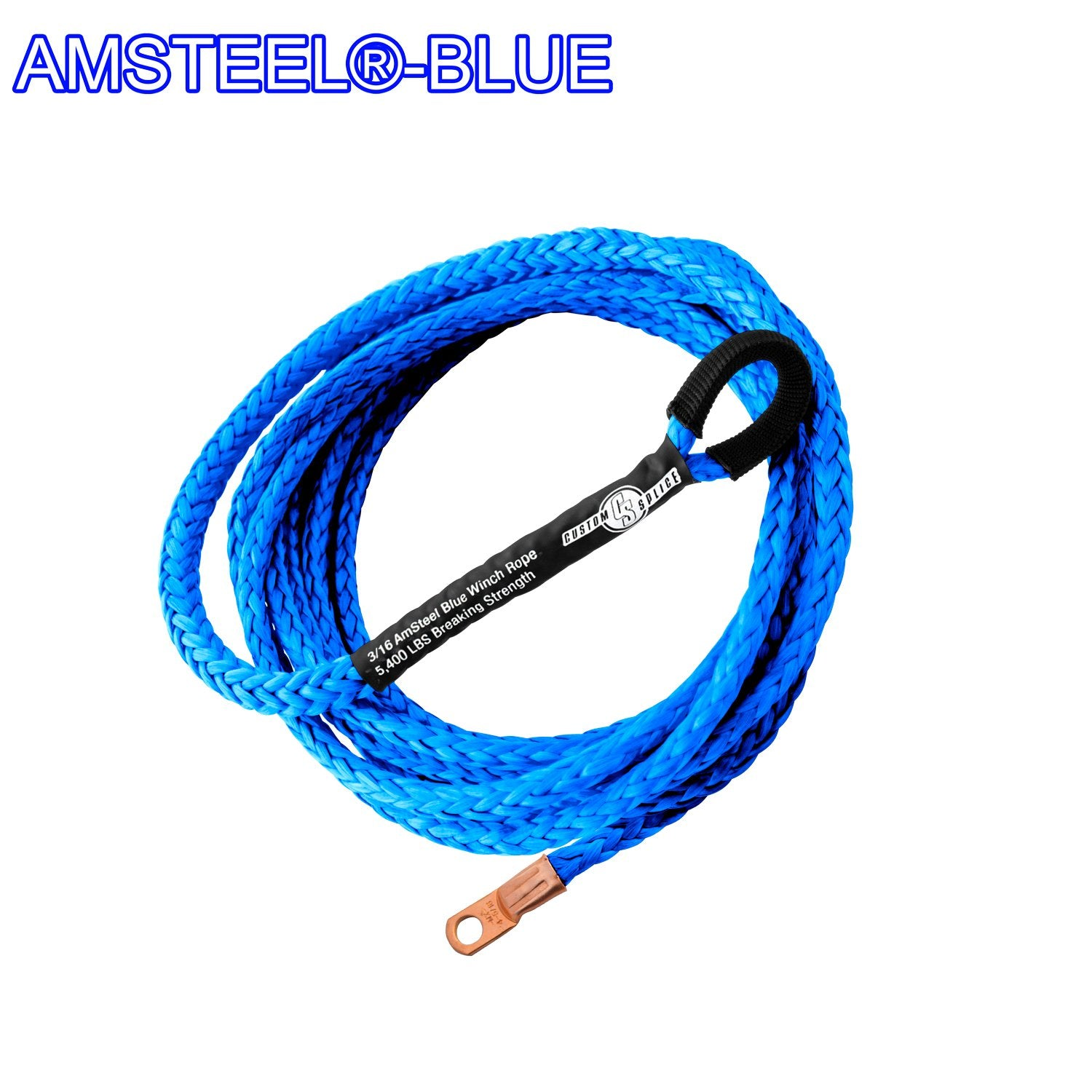 "Blue 3//16/""*10ft ATV Plow Lift Rope,Synthetic Rope,Electric UTV Winch Cable"