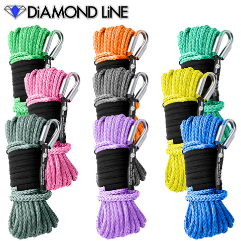 "1/4"" x 55' Diamond Line Winch Rope Synthetic Mainline with Tube Thimble - Assorted Colors"