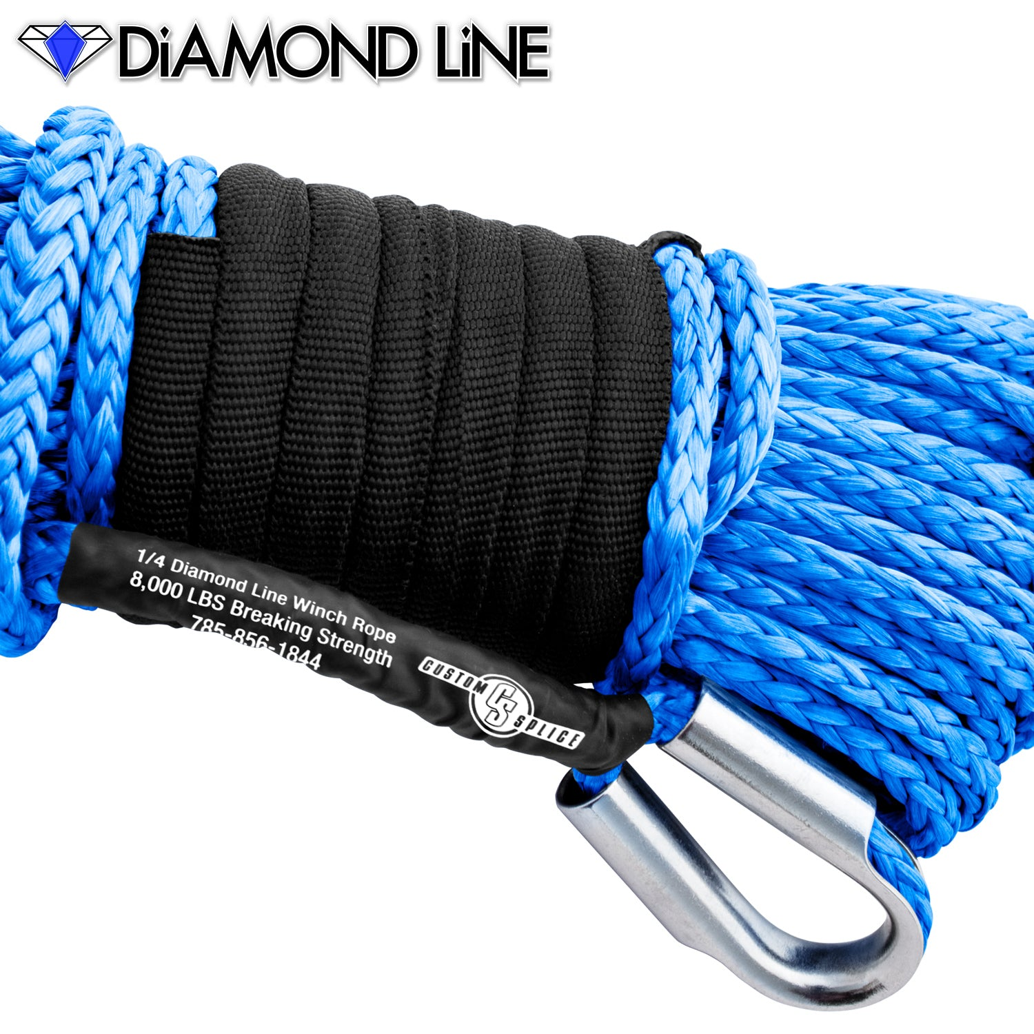 "1/4"" Diamond Line Synthetic Winch Rope with Tube Thimble."