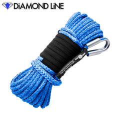 "1/4"" x 55' Diamond Line Synthetic Winch Rope Mainline - Blue."