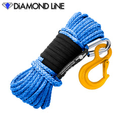 "1/4"" x 55' Diamond Line Synthetic Winch Rope Mainline - Blue with Hook."