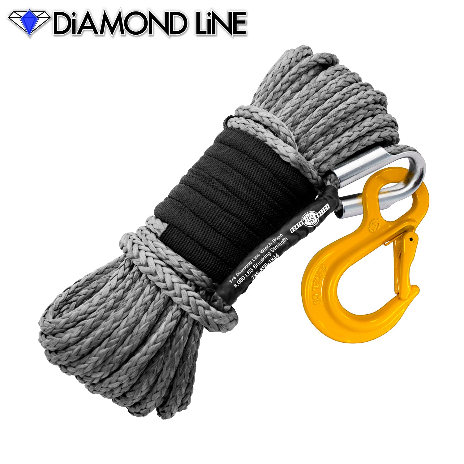 "1/4"" x 55' Diamond Line Synthetic Winch Rope Mainline - Gray with Hook."