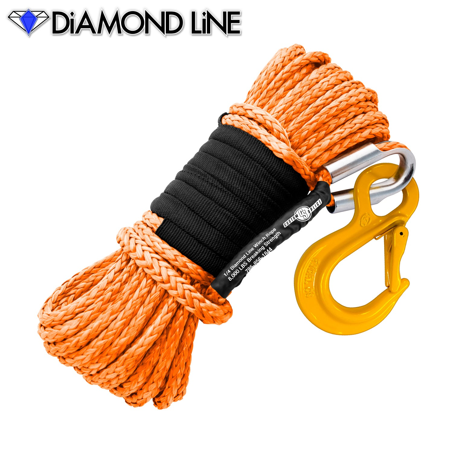 "1/4"" x 55' Diamond Line Synthetic Winch Rope Mainline - Orange with Hook."