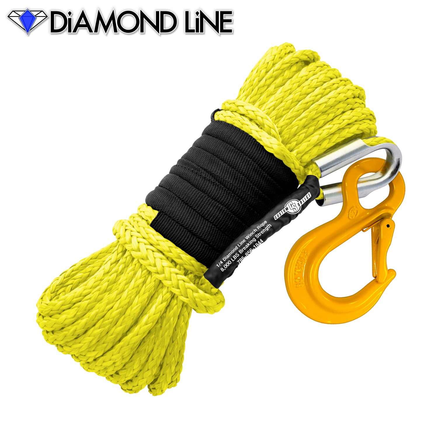 "1/4"" x 55' Diamond Line Synthetic Winch Rope Mainline - Yellow with Hook."