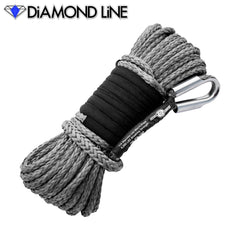 "1/4"" x 55' Diamond Line Synthetic Winch Rope Mainline - Gray."