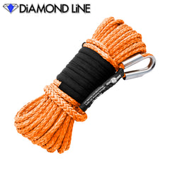 "1/4"" x 55' Diamond Line Synthetic Winch Rope Mainline - Orange."