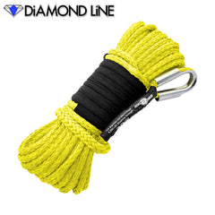 "1/4"" x 55' Diamond Line Synthetic Winch Rope Mainline - Yellow."
