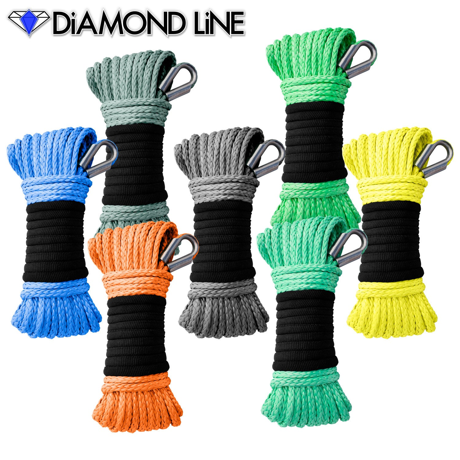 "3/16"" x 50' Diamond Line Winch Rope Mainline - Assorted Colors"