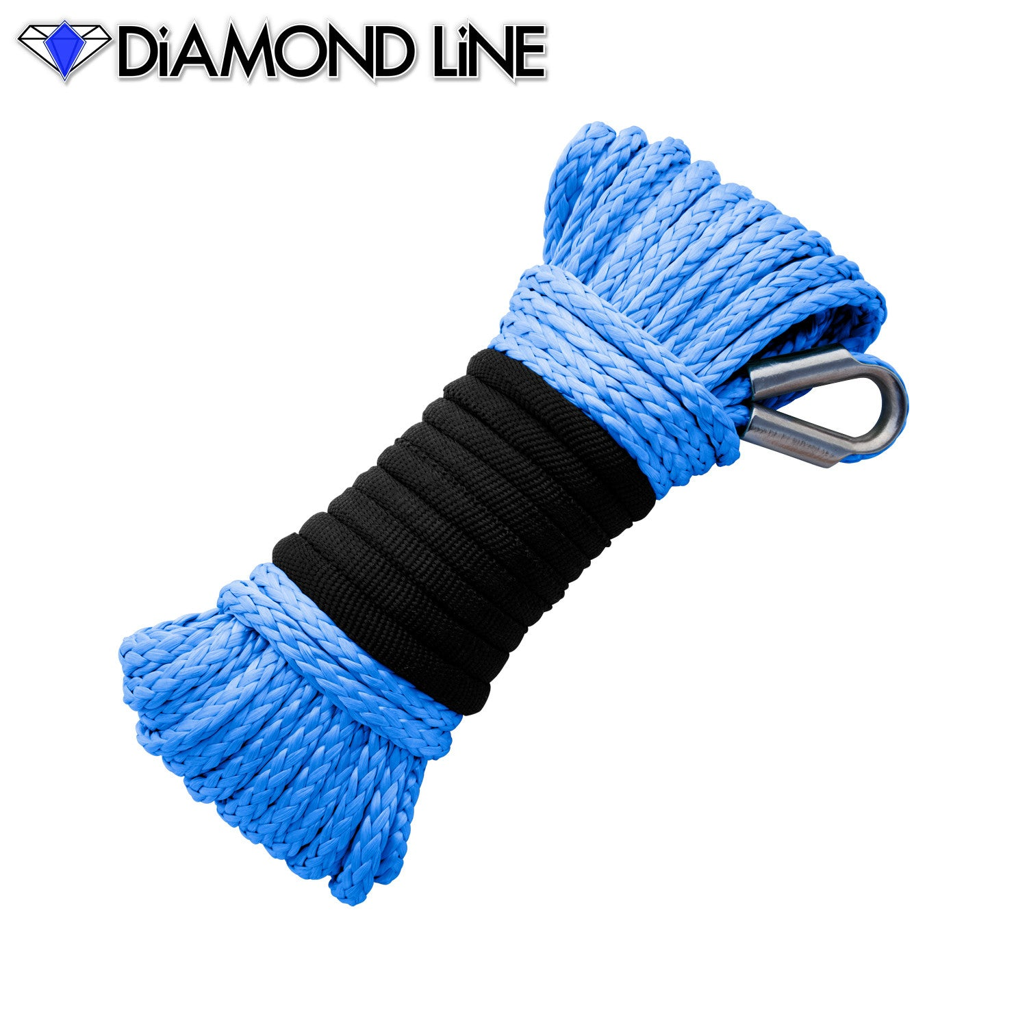"3/16"" x 50' Diamond Line Winch Rope Mainline - Blue."