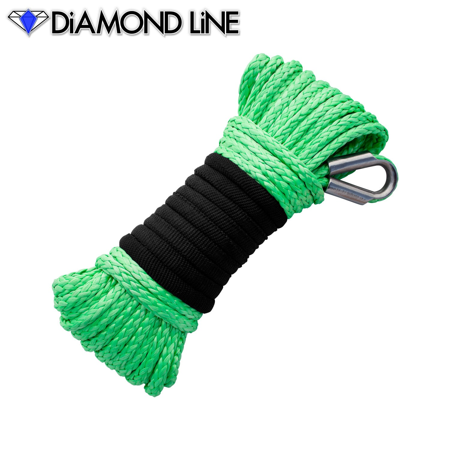 "3/16"" x 50' Diamond Line Winch Rope Mainline - Bright Green."