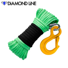 "3/16"" x 50' Diamond Line Winch Rope Mainline - Bright Green with Hook."