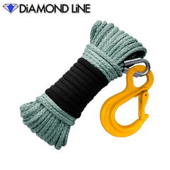 "3/16"" x 50' Diamond Line Winch Rope Mainline - Dark Pewter with Hook."