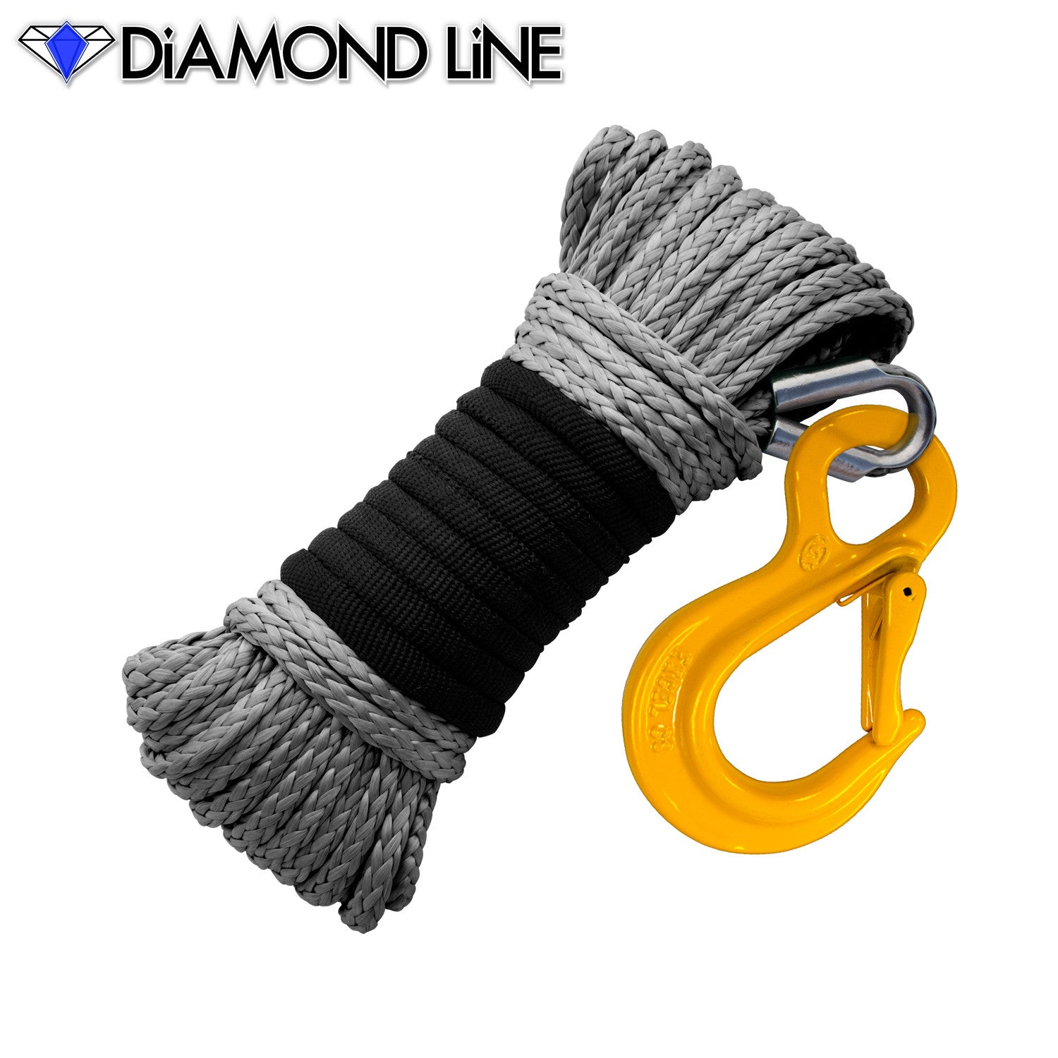 "3/16"" x 50' Diamond Line Winch Rope Mainline - Gray with Hook."