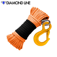 "3/16"" x 50' Diamond Line Winch Rope Mainline - Orange with Hook."