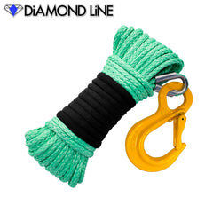"3/16"" x 50' Diamond Line Winch Rope Mainline - Teal Green with Hook."